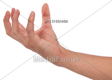 Well Shaped Male Hand Reaching For Something Isolated Stock Photo