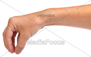 Well Shaped Male Hand Reaching For Something Isolated On A White Background Stock Photo