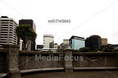 Wellington New Zealand City Downtown Waterfront View Stock Photo