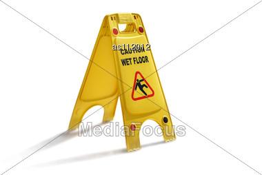 Wet Floor Caution Yellow Plastic Sign Be Careful :) Stock Photo