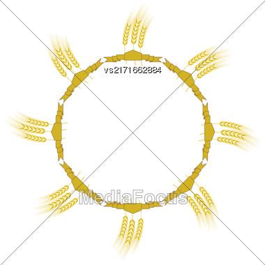 Wheat Icon Set Isolated On White Backgroud Stock Photo