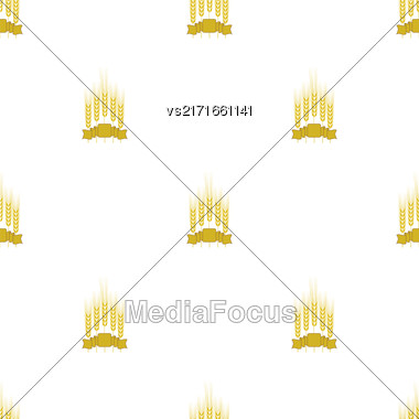 Wheats Ribbon Seamless Pattern. Beer Icons Isolated Stock Photo