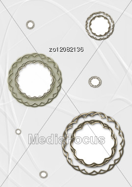 White Background With Frames In The Form Of Circles Stock Photo