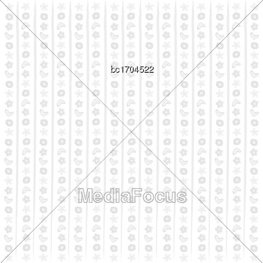 White Background Texture With Hearts And Flowers, Vector Format Stock Photo