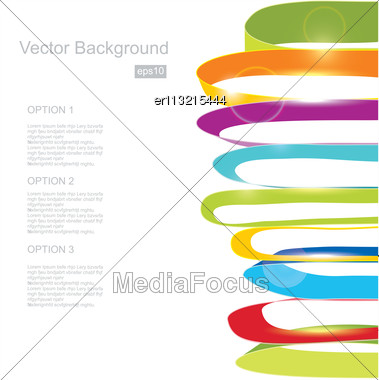 White Background With Color Ribbons Stock Photo