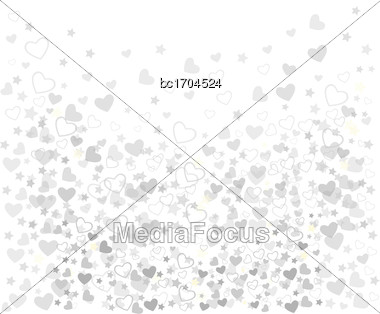 White Background With Hearts, Vector Format Stock Photo