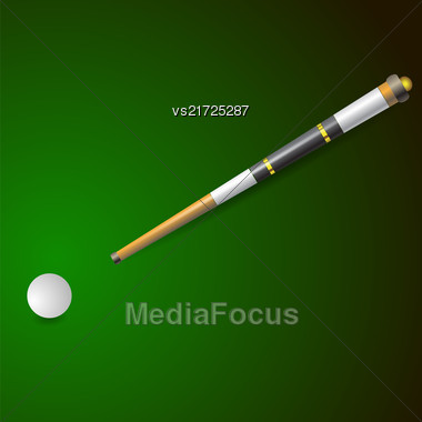 White Ball And Wooden Cue For Billiards Isolated On Green Blurred Background Stock Photo