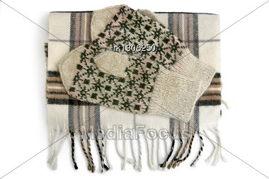 White And Black Checkered Scarf And Knitted Mittens Pattern Isolated Stock Photo