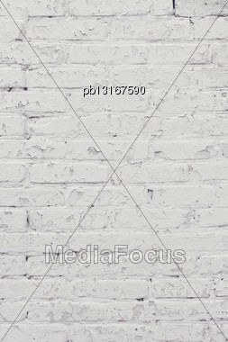 White Brick Wall Weathered Background Stock Photo