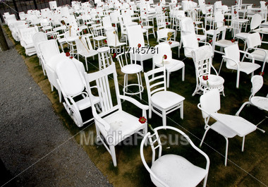 White Chairs Christchurch Downtown Earthquake Memorial 185 Stock Photo