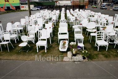 White Chairs Christchurch Downtown Earthquake Memorial 185 Stock Photo