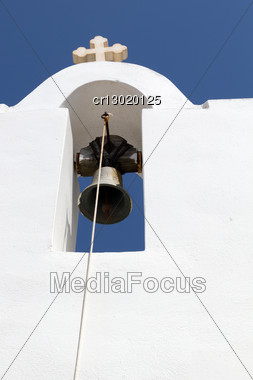 White Church Bell Tower In Greece Stock Photo
