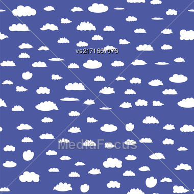 White Cloud Seamless Pattern On Blue Background Stock Photo
