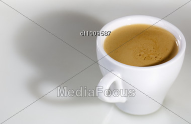 White Cup With Espresso Coffee Stock Photo