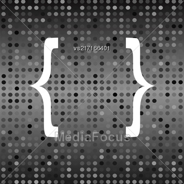 White Curly Bracket Icon On Grey Halftone Background Stock Photo