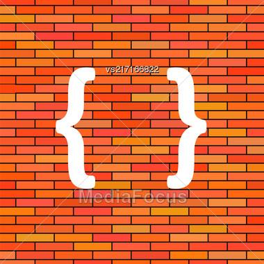 White Curly Bracket Icon On Orange Brick Background Stock Photo