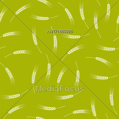 White Ears Of Wheat Seamless Pattern On Yellow. Baking Background Stock Photo