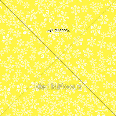 White Flower Seamless Pattern Isolated On Spring Yellow Background Stock Photo