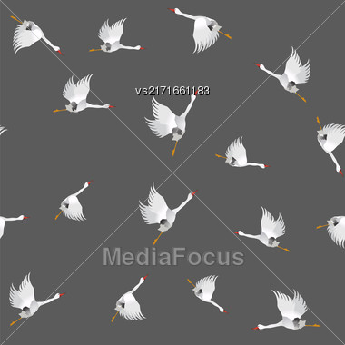 White Geese Seamless Pattern On Grey Background. Animal Bird Texture Stock Photo