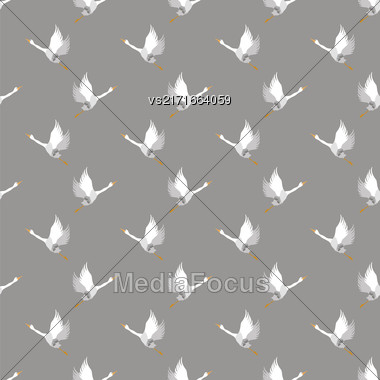 White Geese Seamless Pattern On Grey Background. Animal Bird Texture Stock Photo