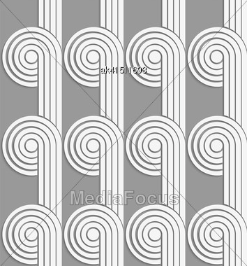 White And Gray Background With Cut Out Of Paper Effect. Modern 3D Seamless Pattern.Paper Cut Out Circles With Continues Stripes On Gray Stock Photo