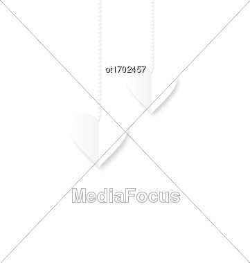 White Hearts Hanging On Strings On White Background. Valentine S Day Card - Vector Stock Photo