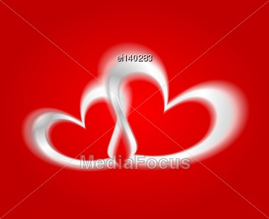 White Hearts On The Red Background. Vector Design Stock Photo