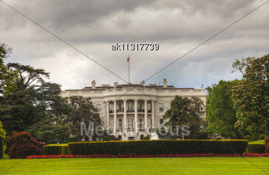 White House Building In Washington, DC In The Morning Stock Photo