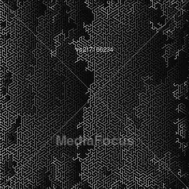 White Labyrinth On Black Background. Kids Maze Stock Photo