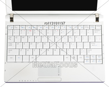 White Laptop Isolated Stock Photo