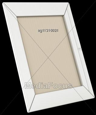 White Leather Photo Frame Isolated Over Black Background Stock Photo