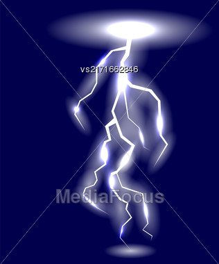 White Lightning Isolated On Blue Background For Your Design Stock Photo