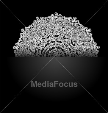 White Mandala Isolated On Black Background. Round Ornament Stock Photo