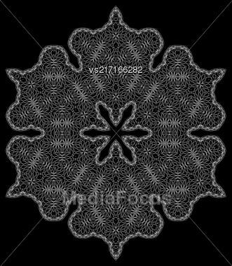 White Mandala Isolated On Black Background. Round Ornament Stock Photo