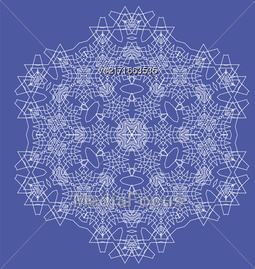 White Mandala Isolated On Blue Background. Round Ornament Stock Photo
