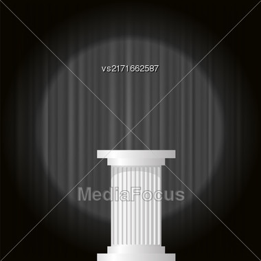 White Marble Greek Column On Dark Wave Background Stock Photo