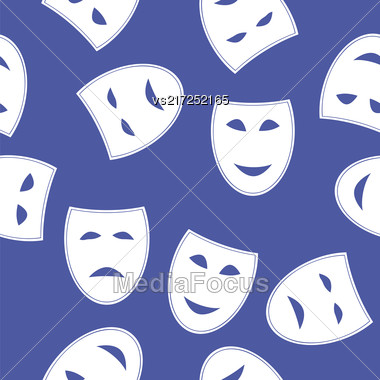 White Masks Seamless Pattern Isolated On Blue Background Stock Photo