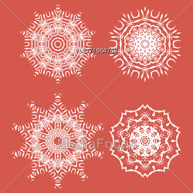 White Ornamental Rosettes. Endless Texture. Oriental Geometric Ornament Stock Photo