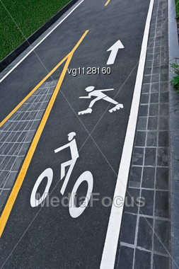 White Painted Signs For Bike And Rollerblades Line Stock Photo