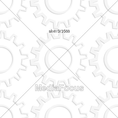 White Paper Background. Seamless Patter With Cut Out Paper Effect. Realistic Shadow Creates 3D Modern Texture.Paper White Gears With Thick Side Stock Photo