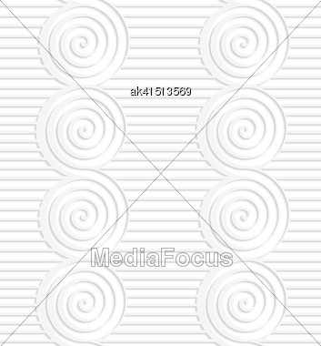 White Paper Background. Seamless Patter With Cut Out Paper Effect. Realistic Shadow Creates 3D Modern Texture.Paper White Merging Spirals On Continues Lines Stock Photo