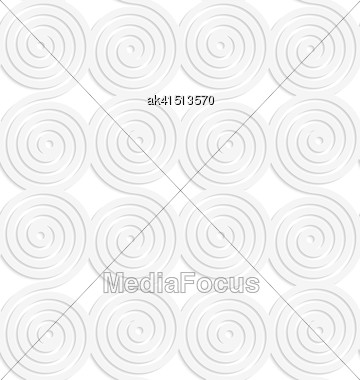 White Paper Background. Seamless Patter With Cut Out Paper Effect. Realistic Shadow Creates 3D Modern Texture.Paper White Merging Spirals Stock Photo