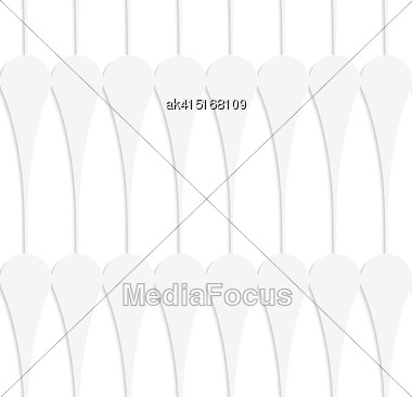 White Paper Background. Seamless Patter With Cut Out Paper Effect. Realistic Shadow Creates 3D Modern Texture.Paper White Solid Clubs Stock Photo