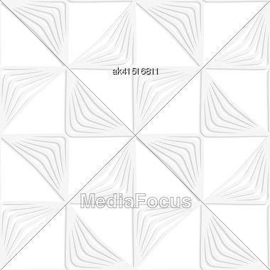 White Paper Background. Seamless Patter With Cut Out Paper Effect. Realistic Shadow Creates 3D Modern Texture.Paper White Striped Rotated Triangles Stock Photo