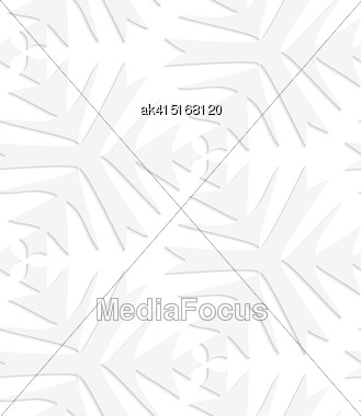 White Paper Background. Seamless Patter With Cut Out Paper Effect. Realistic Shadow Creates 3D Modern Texture.Paper White Pointy Complex Trefoils Stock Photo