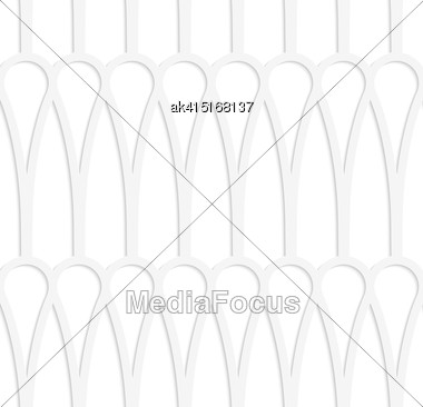 White Paper Background. Seamless Patter With Cut Out Paper Effect. Realistic Shadow Creates 3D Modern Texture.Paper White Clubs In Row Stock Photo