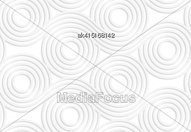 White Paper Background. Seamless Patter With Cut Out Paper Effect. Realistic Shadow Creates 3D Modern Texture.Paper White Merging Rolling Spools Stock Photo