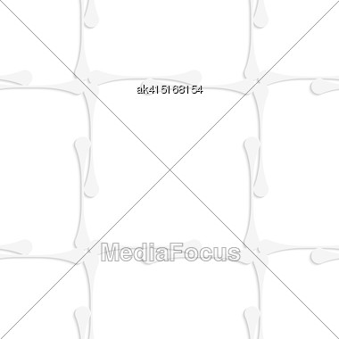 White Paper Background. Seamless Patter With Cut Out Paper Effect. Realistic Shadow Creates 3D Modern Texture.Paper White Clubs Forming Squares Stock Photo