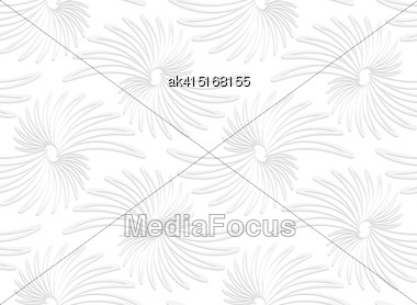White Paper Background. Seamless Patter With Cut Out Paper Effect. Realistic Shadow Creates 3D Modern Texture.Paper White Abstract Daisy Flowers Stock Photo