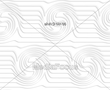 White Paper Background. Seamless Patter With Cut Out Paper Effect. Realistic Shadow Creates 3D Modern Texture.Paper White Waves With Swirls Stock Photo
